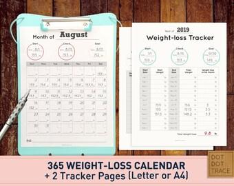 2019 Weight Loss Calendar 2019 Weight Loss Tracker Monthly ...