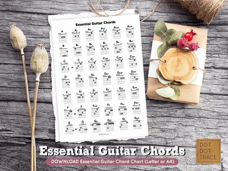Printable Essential Guitar Chord Chart Basic Guitar Chords Etsy