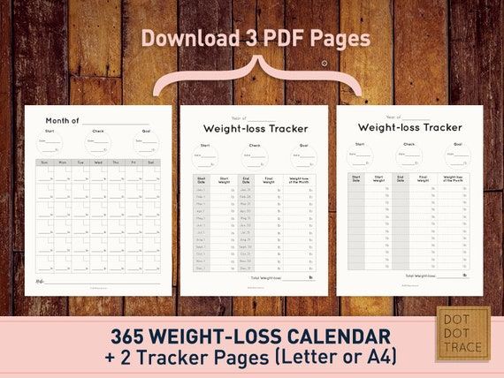 photo regarding Printable Weight Loss Calendars titled Printable 365 Excess weight reduction calendar 365 body weight-reduction calendar Body weight reduction tracker bodyweight decline planner PDF Obtain diet program calendar food plan planner
