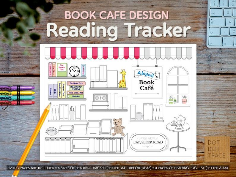 Buch Cafe Entworfen Lesen Tracker Lesen Bücherregal 60 Bücher Zu Lesen Familie Lesen Log Lesen Herausforderung Färbung Brief Tabloid A4 A3