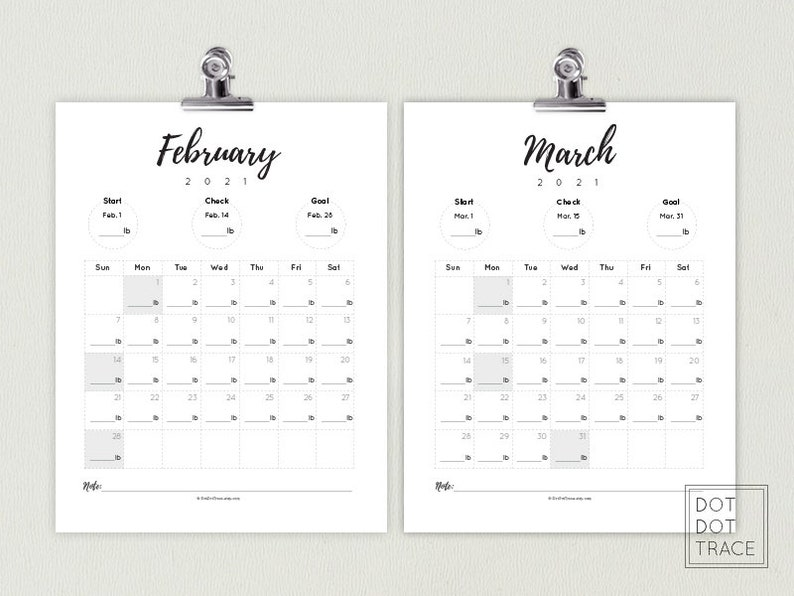 2021 Weight Loss Calendar 2021 Weight Loss Tracker Monthly   Etsy