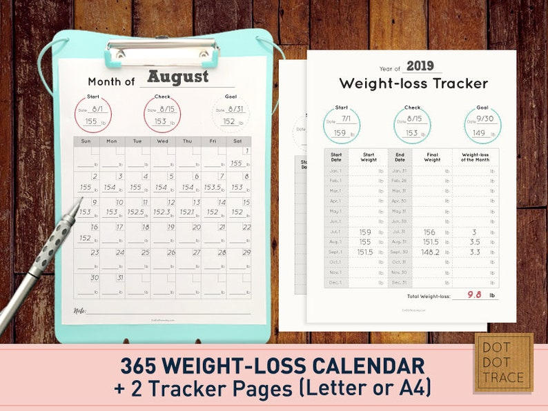 photo about Printable Weight Loss Calendars titled Printable 365 Excess weight reduction calendar 365 bodyweight-decline calendar Excess weight reduction tracker fat decline planner PDF Down load food plan calendar diet program planner