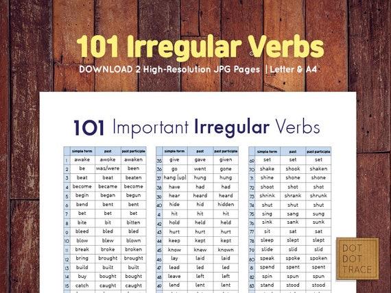 Printable 101 Irregular Verbs Printable Irregular Verb List Etsy