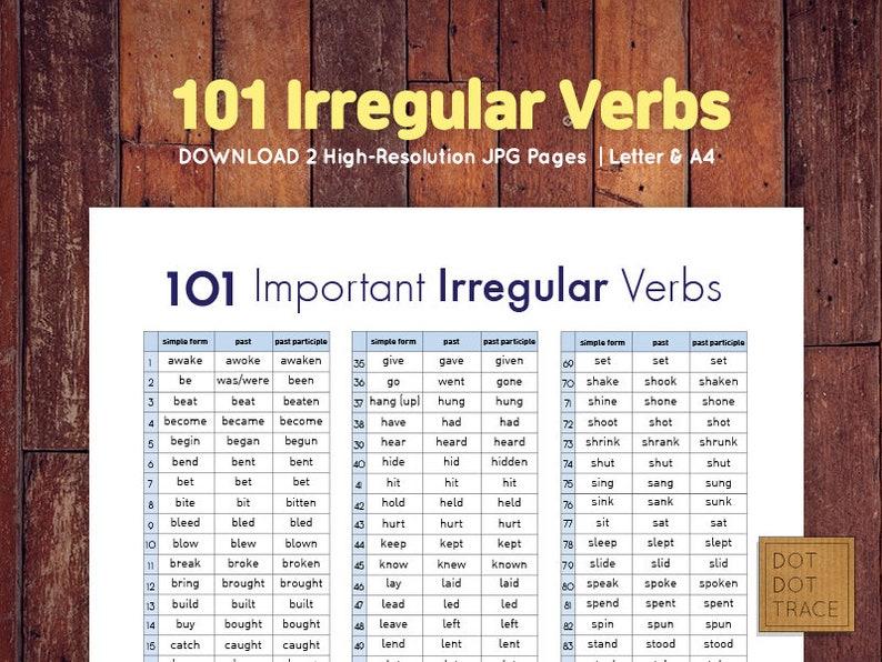 English regular and irregular verbs table