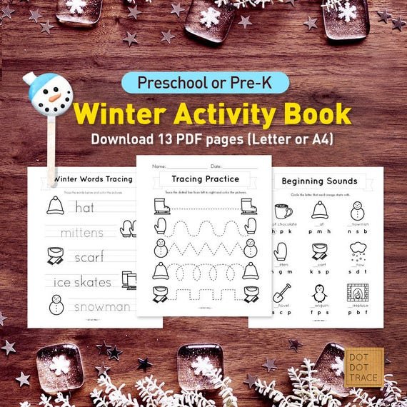 Printable Preschool Or Pre K Winter Activity Book Printable Etsy