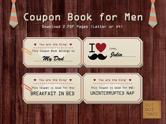 Printable Coupon Book For Dads Coupon Book For Men Coupon Book Etsy