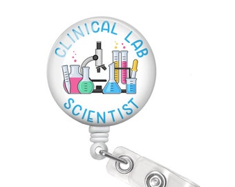 Clinical Lab Scientist Gift Clinical Lab Scientist Badge Reel Lab Badge Reel Lab Technician Badge Reel Medical Lab Technician Gift