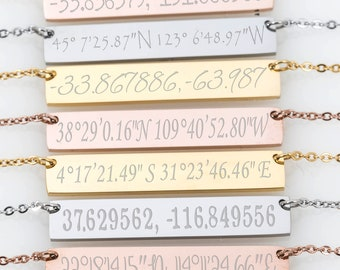 Latitude Longitude, Coordinate Necklace Coordinates Necklace GPS 1st 5th 10th 50th Anniversary gift Long Distance Gift 10th Year Anniversary