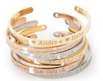 Personalized Cuff Bracelet Friendship Bracelet inspirational bracelet teacher gifts Custom Mantra Bracelet Custom Bangle Bracelet