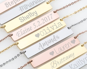 Custom Name, Bar Necklace, Personalized Name Necklace, Roman Numeral, Initial, Greek Letters,Morse Code,Zodiac,Date Necklace,Bridesmaid Gift