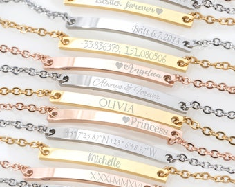 Custom Name bracelet, Skinny Bar bracelet, Engraved Personalized bracelet, Initial Bracelet, Nameplate Monogram, Mothers bracelet, thin bar