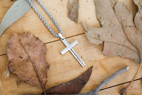 Mens Necklace Personalized Cross Jewelry Men