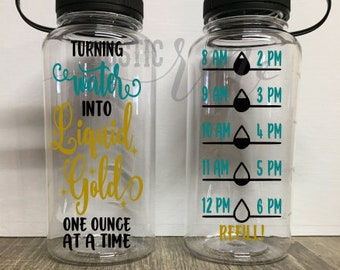 Turning water into liquid gold / breast feeding / breast feeding water bottle tracker /  motivational water bottle / hourly water tracker