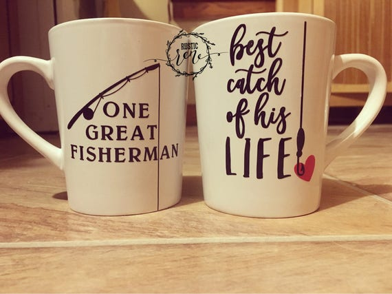 Great Wedding Gifts | Fishing Mug Set Unique Wedding Gift For Couple His And Hers Etsy