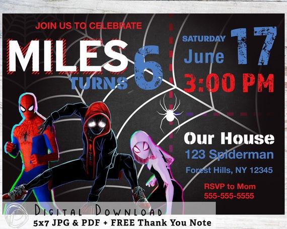 Spider Man Into The Spider Verse Birthday Invite Digital Etsy