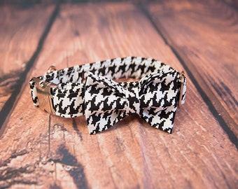 Houndstooth Dog Collar & Bow