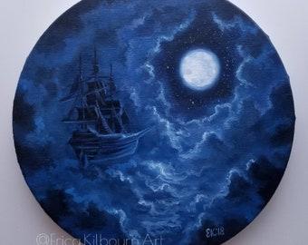 "Original Painting || ""Homebound"" || Oil on 9"" Round Canvas || Fairytale Fantasy Art"