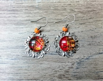 Flower Earrings and cabochon Orange
