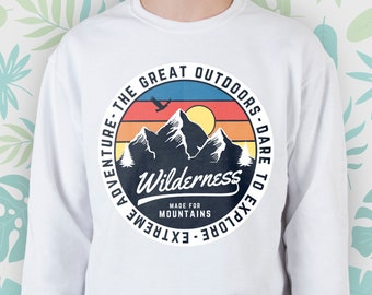 bfd742b66a9f Outdoors sweatshirt Men Women Girl sweater Vintage Sayings Graphic raglan  Retro Aesthetic National Park Adventure Mountains Nature Camping