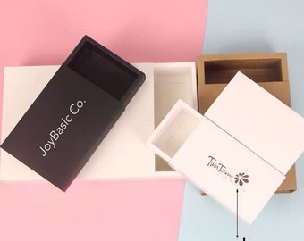 100x Business Logo Kraft Paper Sleeve Drawer Boxes Product Packaging Box | Jewellery Essential Oil Cosmetics Candle Soap Product Packing Box