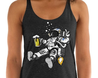 a6ee092638cd46 Astronaut Tank Top Space Beer Drinking Womens Tank Top Beer Party Racerback  Tank Top Womens Beer Gifts Funny Space Party Clothing