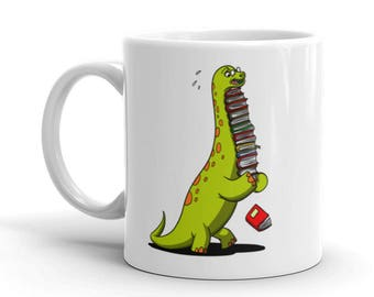 Dinosaur Mug Literary Gifts Dinosaur Gifts Book Lover Gift Funny Coffee Mugs Gifts For Readers Bookish Librarian Gifts Dinosaur Birthday