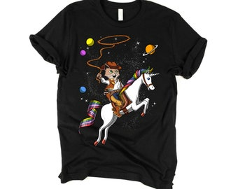 09202264 Space Cat Cowboy Riding Unicorn Shirt For Girls Boys Funny Cat Tees For  Women Men Magical Rainbow Unicorn Clothing Fantasy Animal Lover Gift