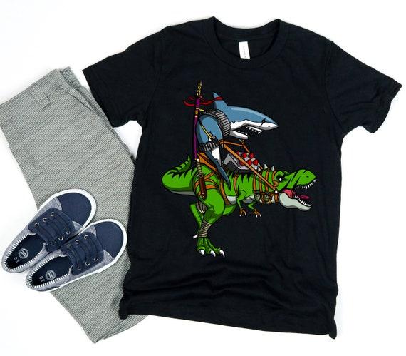Dark Cycle Clothing Boys Hammerhead Shark on a Bike T Shirt Neon Blue