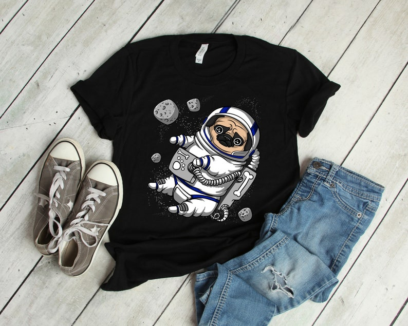 06408bbb Pug Astronaut Shirt For Men Women Space Dog T-Shirts For Boys | Etsy