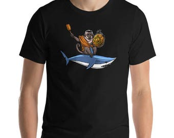 Monkey Shark Shirt Ape Chimp Ocean Shirt Mens Shirts Cartoon Animal Lover Gift Buddha Shirt Graphic Tee Fantasy Boys Shirts Boyfriend Gift