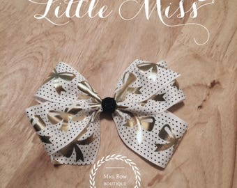 White, Black and Gold Bow Print Bow