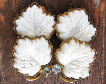 Art Deco Aurora Borealis & Opaline White Glass Earrings * Rainbow Crystal Czech 1930 1940 Earclip Clip-on Gold Brass Tone Maple Leaves