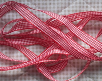 10mm red GINGHAM Ribbon (1 cm)-discount sale price