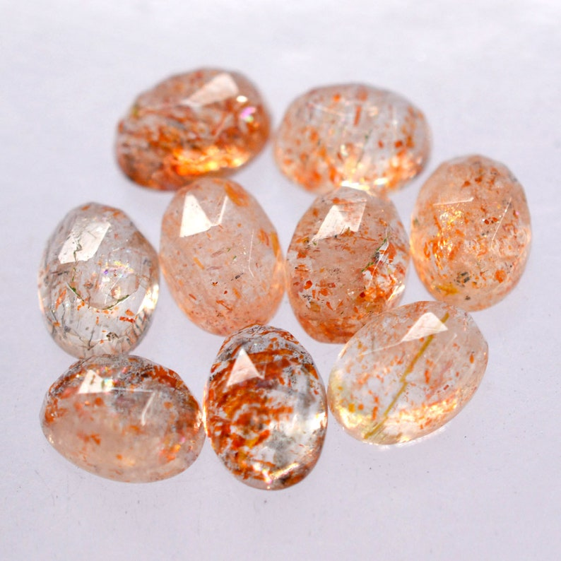 Sunstone Oval Faceted Cabochon Rose Cut gems 4x6  5x7  6x8 mm Natural Gemstones in Different Size  Quantity For Jewellery