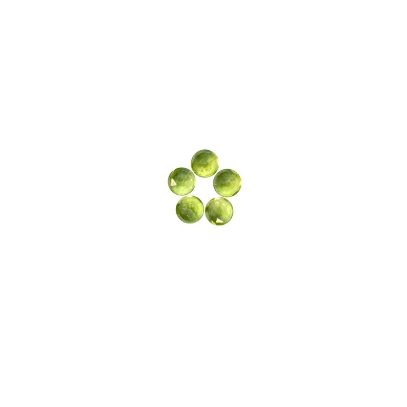 Peridot Round Rose Cut Faceted Cabochons 3x3 4x4 6x6 mm 100/% NaturalNon-HeatedNon-Treated Gemstones For Designer Jewelry 5x5