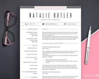 Professional Resume Template Instant Download Creative Marketing Word
