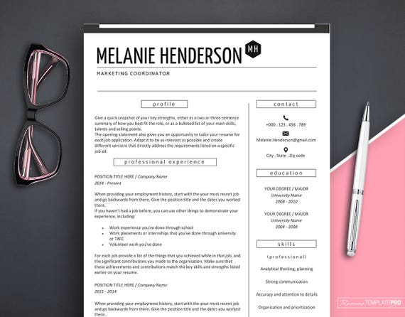 Resume Template Modern Marketing Professional Instant Download Creative Word CV Design