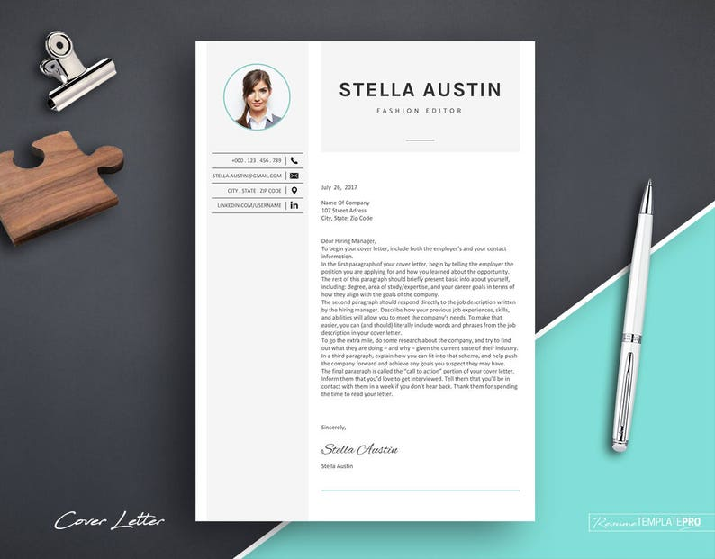 Resume with Photo Template CV Resume Template Word Resume Template Professional Resume Template for Fashion Resume Design with Icons
