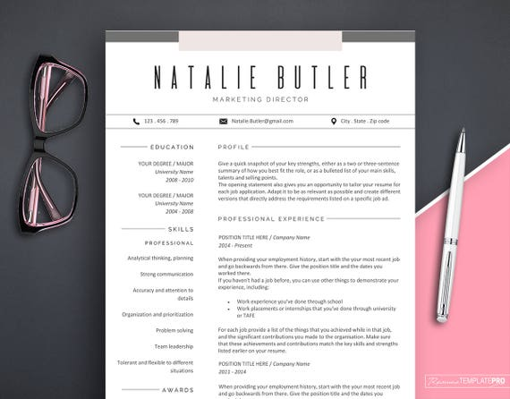 professional resume template instant download creative etsy