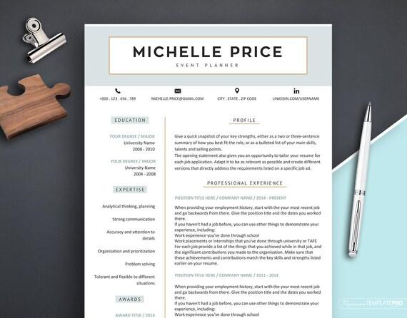 Resume Template CV Template Design Resume Template with Icons  3 page Resume  Modern Resume Template Instant Download Medical Resume