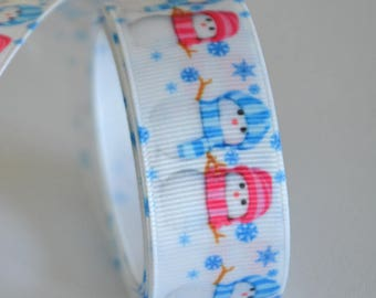 "1 metre of printed Ribbon ""Snowman"" - 25 mm - cheap!"