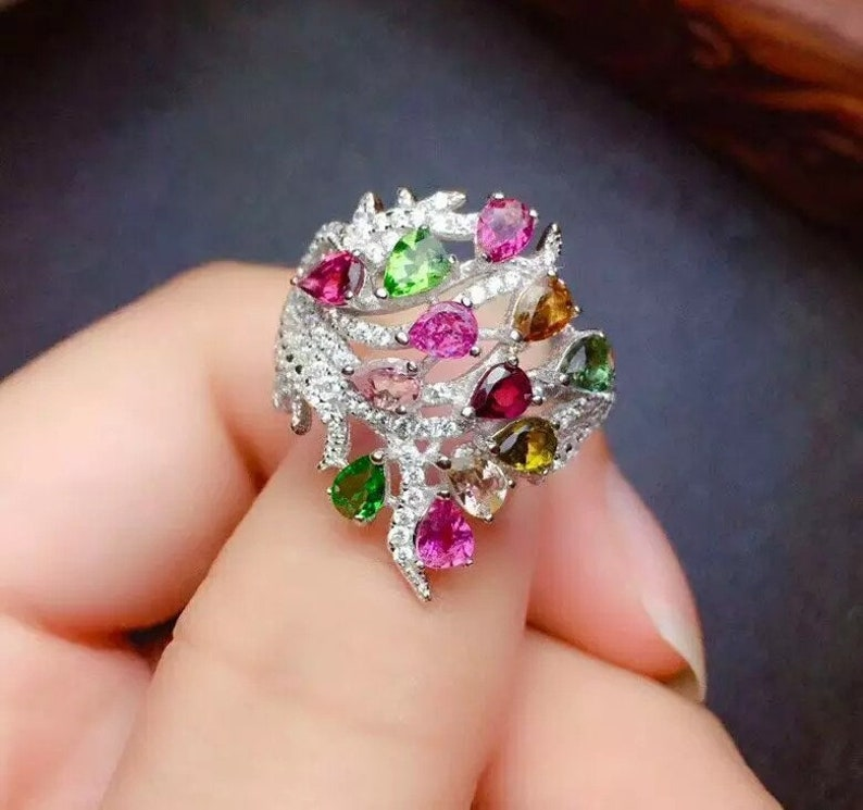 RingBand, Natural Multi Color Tourmaline Ring 925 Sterling Silver Wedding /& Luxury Ring Tourmaline Ring Pear Cut Ring Engagement Ring