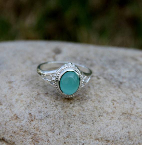 Natural Chalcedony Gemstone Ring Aqua Chalcedony Blue Gemstone Stacking Ring Aqua Chalcedony Gift Sagittarius Birthstone