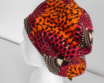 Large beret, beanie hat is double sided wax (Ankara)