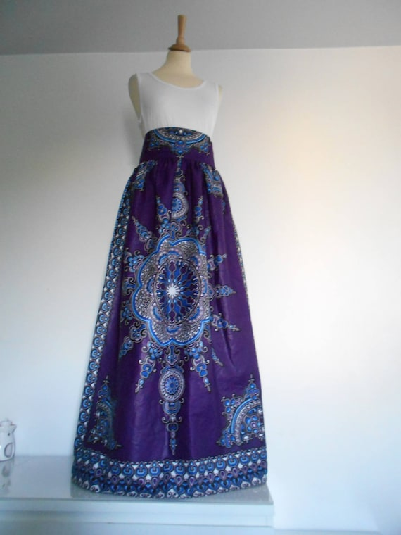 hot products multiple colors popular stores Jupe longue taille haute T. 38 en wax (pagne africain)