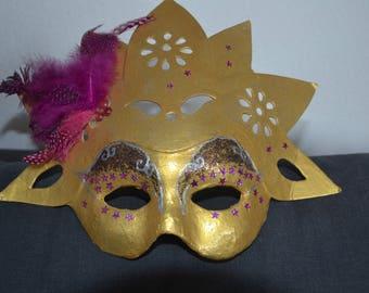 """Solar"" Venetian mask gold and fuchsia"
