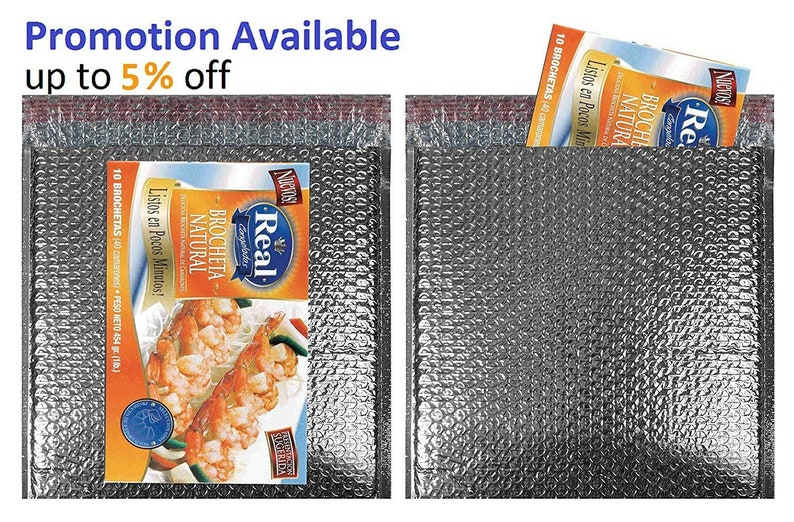 Thermal Insulated Bubble Mailers 10 x 10.5 Food Grade Padded envelopes 10 x 10 12 Pack of 10 Silver Cushion envelopes.