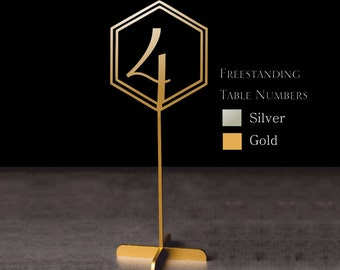 Wedding table numbers. Hexagon Table numbers gold table numbers, Rustic signs. Table decoration. Numbers with base.Wood table numbers