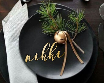 """Wedding Place Cards , Gold Place Name, Wooden  Place Name , Wedding Place Setting-Please Enter your phone number in the """"NOTE to the seller"""""""
