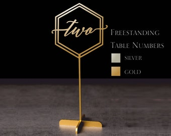 Table Numbers .Hexagon table numbers.Wedding Table Numbers. Gold table numbers.Table decoration.Numbers with base.Wood table numbers